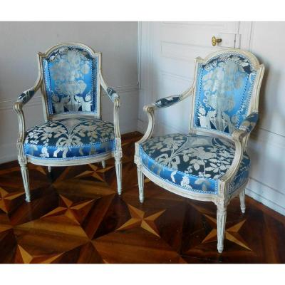 C Sené Pair Of Louis XVI Period Armchairs Stamped De Young Legion Of Honor Museum San Francisco