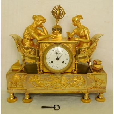 Empire Ormolu Clock - The Astronomy Lesson, After Reiche By Claude Galle