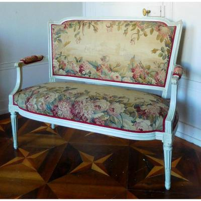 2 Seats Louis XVI Sofa With Aubusson Tapestry - Circa 1780