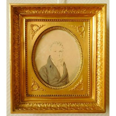 Henri Hesse - Portrait Miniature Empire Period - Lavis Dated And Signed From 1812