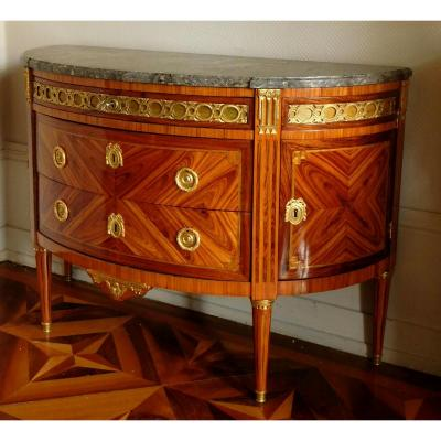 J. Bircklé - Large Half Moon Louis XVI Commode , Rosewood Marquetry Stamped