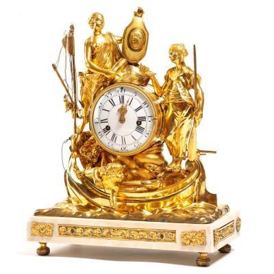 Pendule Allégorie Du Commerce Maritime En Bronze Doré Et Marbre - époque Louis XV