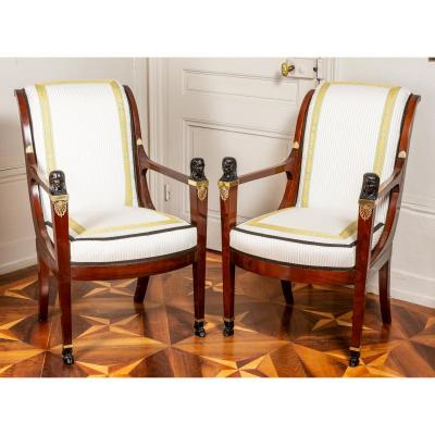 Attributed To Jacob, Pair Of Directoire Period Armchairs
