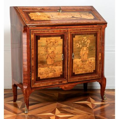Topino : Marquetry Writing Desk, Transition Period - 18th Century - Stamped
