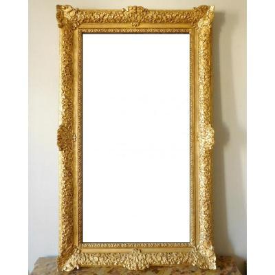 Miroir d'Entre Deux Ou De Cheminée Bois Doré Style Louis XIV Régence - Glace Mercure 160 X 96cm