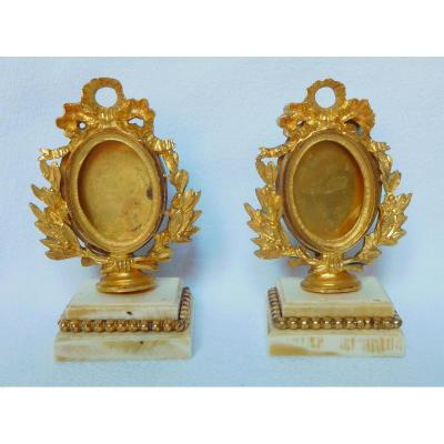 Pair Of Ormolu And Ivory Miniature Frames - Louis XVI Style Mid 19th Century