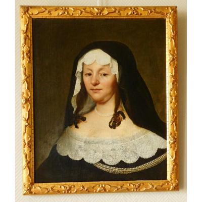 Attibued To Jacob Van Oost The Old Portrait Of A Lady Of Bruges - 17th Century Flemish School