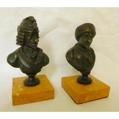 Pair Of Patinated Bronze Busts : Voltaire And Rousseau