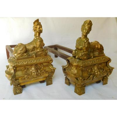 Pair Of Regency Style Andirons, Sphinge Decoration - Ormolu, 19th Century