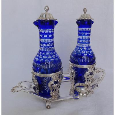 Sterling Silver Oil & Vinegar Set, Louis XV - Louis XVI Period 18th Century