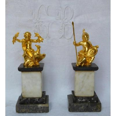 Pair Of Ormolu Statuettes Jupiter And Mars As Children - Gilt Bronze And Marble - Louis XVI Period