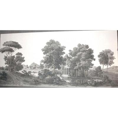 Panoramic Wallpaper Zuber Complete & Never Posed, Italian Landscape Light Gray 250cm X 500cm