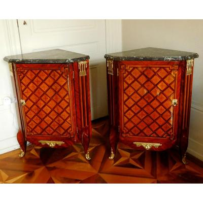 Martin Ohneberg Rare Pair Of Transtion Louis XVI Marquetry Corner Cupboard, 18th Century