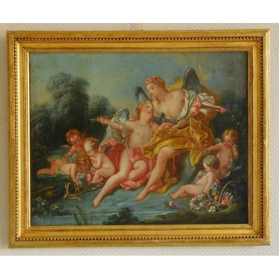 18th Century School, Butcher's Follower - Venus And Cupid Mythological Scene, Oil On Canvas