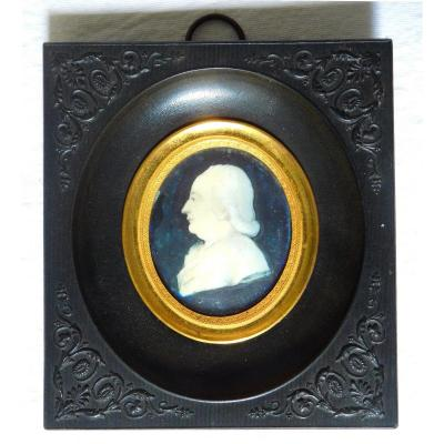Miniature On Ivory 18th Century, Portrait Of Man Profile In A 19th Frame