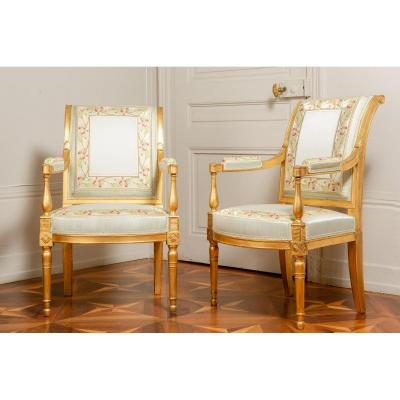 Pair Of Gilt Wood Armchairs - France Circa 1796-1799 Attributed To Jacob