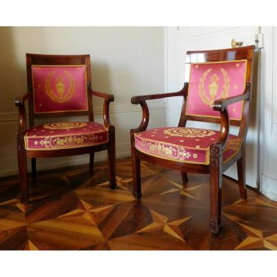Pair Of Armchairs Of Empire Officer In Roman Sword - Old Silk Mahogany Varnish In Stamp