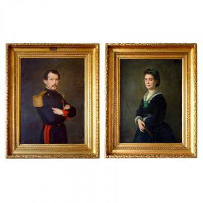 Large Pair Of 19th Century Portraits, Oil On Canvas, Ch Poterin Du Motel Signed And Dated 1870 & 1872