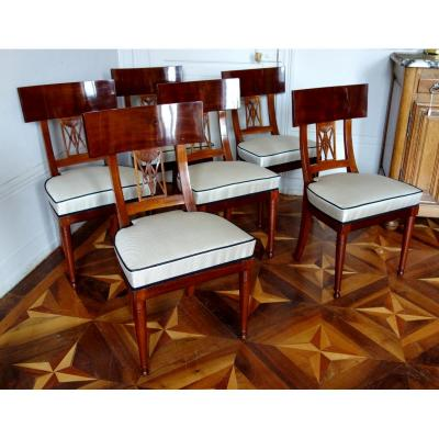 6 French Consulate - Empire Mahogany Chairs,  Circa 1800