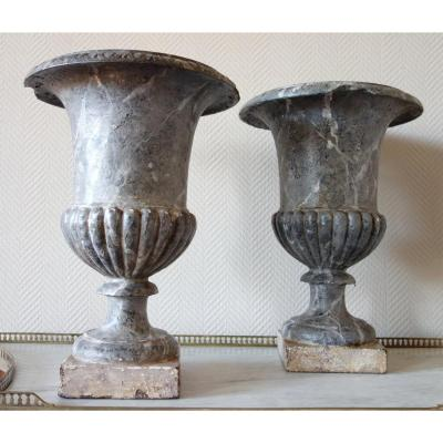 Pair Of Tall Painted Cast Iron Vases, 19th Century