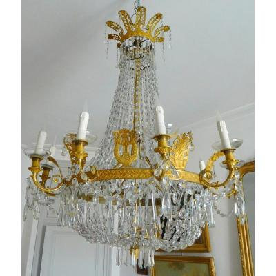 Large Empire Crystal & Ormolu Chandelier Circa 1810 1820