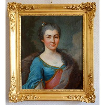 18th Century French School, Portrait Of A Young Aristocrat, Regency Period, Louis XV Gilt Wood Frame