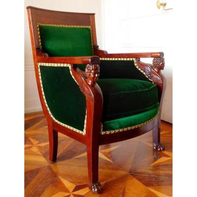 Bergère fauteuil de bureau En Acajou d'époque Consulat Attribuée à Jacob Frères