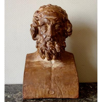Grand Buste De Bibliothèque Homère d'Après l'Antique Du Louvre - Plâtre Patiné - 53cm