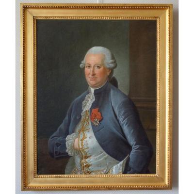Grd Portrait De Gentilhomme d'époque Louis XVI Louis Béra Comte de Latran Hst 73 X91,5cm