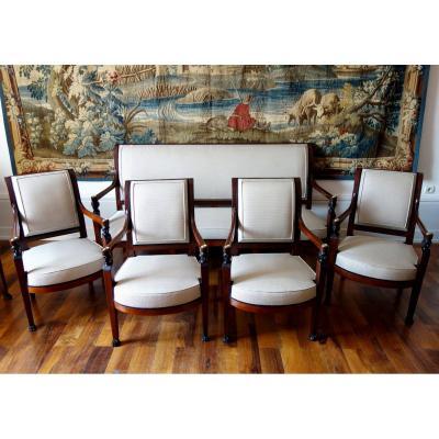Salon En Acajou d'époque Directoire Consulat - Canapé & 4 Fauteuils - Circa 1800