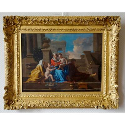 Early 18th French School From Century: Holy Family At The Staircase After Poussin