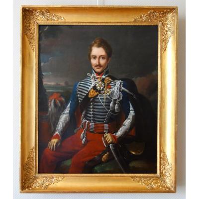 Portrait Du Colonel Pozac, Héros De l'Empire Avec Son Sabre d'Honneur - Hst