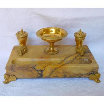 Empire Inkwell With Rythons - Yellow Sienna Marble And Gilt Bronze With Mercury Charles X Period
