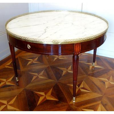 Louis XVI Library Pedestal Or Large Bouillotte Table - Mahogany & Marble Diameter 129cm
