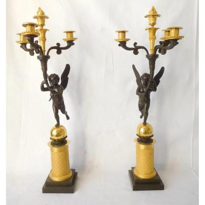 Pair Of Large Empire Candelabra With Winged Children Attributed To Gérard Jean Galle - Gilt Bronze