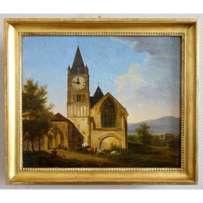 Alphonse Giroux : Large Painting / Clock, Early 19th Century Circa 1830 - Signed - 74.5cm X 63.