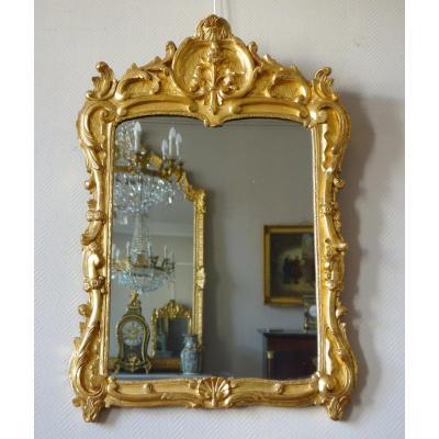 Miroir En Bois Doré d'époque Louis XV Richement Sculpté, Travail Provençal - 103cm X73cm