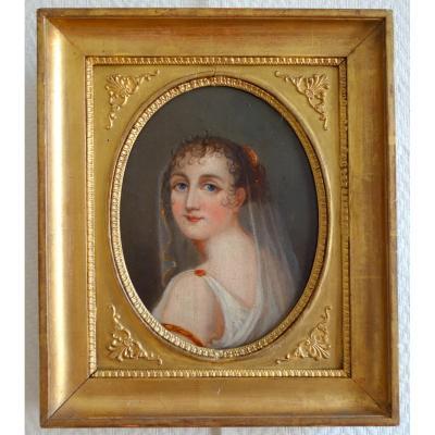 Portrait d'époque Empire De Jeune Fille Vétue à l'Antique - Huile Sur Toile 38x32cm