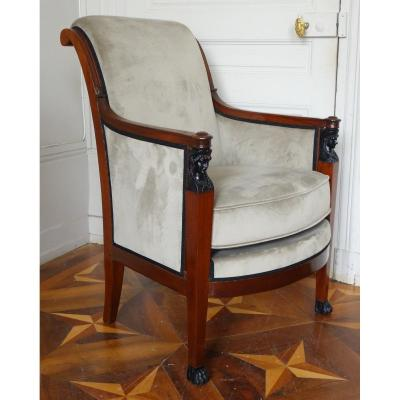 Empire Consulate Mahogany Bergere, Late 18th Century / Early 19th Century Attributed To Demay