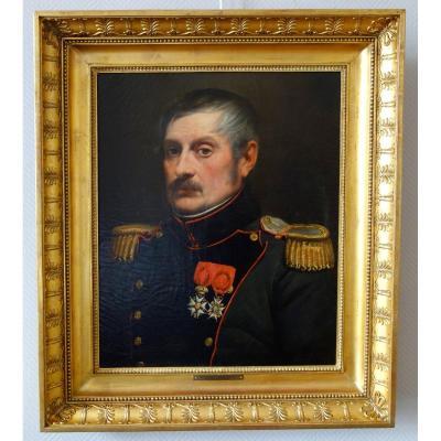 Portrait d'Un Officier De l'Empire, Lt Colonel Du Génie Hst 54 X 65cm