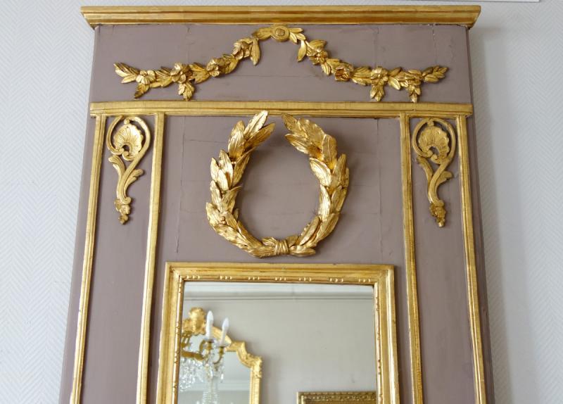 Trumeau, Miroir d'Entre Deux d'époque Louis XVI Doré à La Feuille d'Or, Glace Au Mercure-photo-4