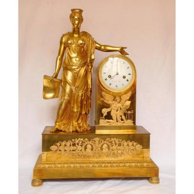 Tall Empire Clock By Lesieur And Thomire - Allegory Of Diplomacy