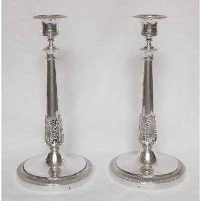 Pair Of Torch In Sterling Silver Empire Period, Rooster Hallmark, Early 19th Century