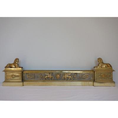 Barre De Cheminée Aux Sphinxes En Bronze Doré d'époque Empire, Variante Modèle De Fontainebleau