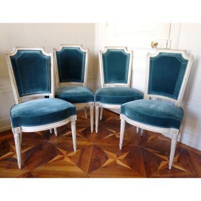 Pluvinet : 4 Chaises De Salon d'époque Louis XVI Estampillées - Velours De Soie