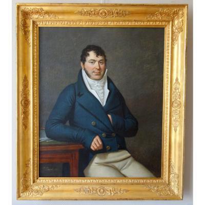 Edouard Pingret, élève De David - Grd Portrait d'Homme d'époque Empire 1813 - 103cm X 121cm