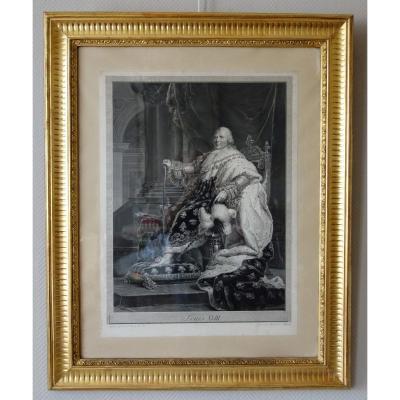 Grde Gravure Royaliste : Louis XVIII Roi De France En 1814 d'Après Gérard, 85,5 X 105 Cm