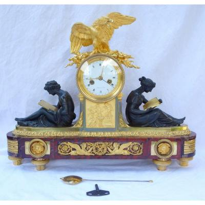 Large So-called Clock Aux Marechaux, Empire Production, Early 19th Century