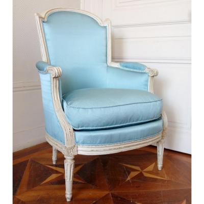 Bergère d'époque Louis XVI,  Canetillé De Soie Bleu Clair
