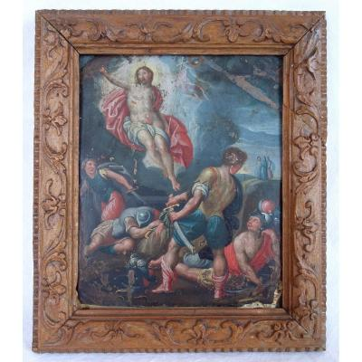 Georges Kopp (1570-1622) The Resurrection Of Christ, Oil On Copper Wood Frame From Saint Lucia